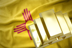 Shining golden bullions on the new mexico state flag Stock Photos