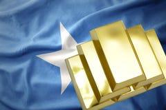 Shining golden bullions on the somalia flag. Gold reserves. shining golden bullions on the somalia flag background Royalty Free Stock Photography