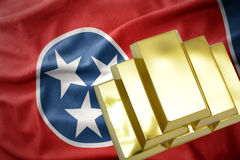 Shining golden bullions on the tennessee state flag stock photos
