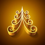 Shining golden 3d christmas tree Royalty Free Stock Image
