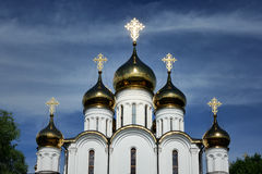 Shining Golden Domes of St. Nicholas Church in Pereslavl-Zalessky Royalty Free Stock Image
