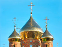 Shining golden domes of St.Vladimir Cathedral Stock Photos