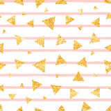 Shining golden foil triangle glitter on white seamless vector design pattern. Striped pink sparkling Christmas celebration print Royalty Free Stock Photography