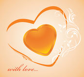 Shining golden heart. Background Royalty Free Stock Images
