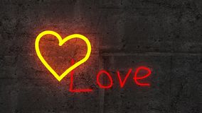 The shining golden heart on rough concrete wall royalty free stock photography