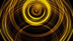 Shining golden rings in pulsating motion on black background, seamless loop. Animation. Abstract yellow shimmering. Shining golden rings in pulsating motion on stock illustration