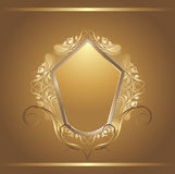 Shining golden shield in vintage frame. Illustration Royalty Free Stock Images