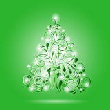 Shining green ornamental Christmas tree Royalty Free Stock Images