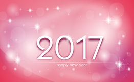 Shining greeting card to new year. Pink glossy greeting card to new year 2017 Stock Photos