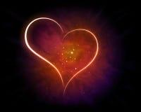 Shining Heart. Galaxy with shining Heart Shape Stock Photo