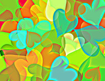 Shining heart. Colorful shiny hearts flying on a dark background Royalty Free Stock Image