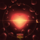Shining Heart with Flare and Floating Little Hearts, Vector Illustration Stock Photos