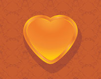 Shining heart on the ornamental background Stock Photo