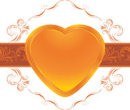 Shining heart on the ornamental frame Stock Image