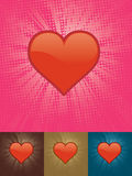 Shining Heart. Over lightbeam halftoned background. Four color sets available. Vector illustration with global CMYK colors Royalty Free Stock Images