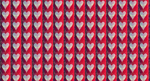 Shining Heart Red Lined Splatter Pattern. Shining white hearts all in a row on a red pleated backing that has a dark to red repeated pattern Royalty Free Stock Photo