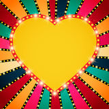 Shining heart on retro colorful Valentines background Royalty Free Stock Photography