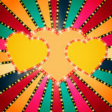 Shining heart on retro colorful Valentines background Royalty Free Stock Photos