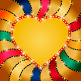 Shining heart on retro colorful Valentines background Stock Images