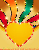 Shining heart on retro colorful Valentines background Royalty Free Stock Images