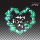 Shining heart with turquoise lights. valentines day. Vector Illustration on transparent background Stock Photos