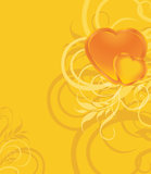 Shining hearts on the ornamental background Stock Images
