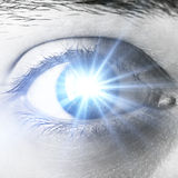 Shining human eye. Close up of shining human eye stock photos