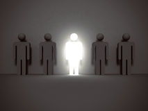 Shining human icon. Stand out from the crowd and different conce Stock Photo
