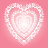 Shining lacy heart, love symbol illustration. Valentine or wedding element design, ornament consist of white doves couples,  eps 10 is aviable Royalty Free Stock Photography