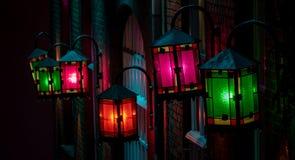 Shining lanterns on a house stock images