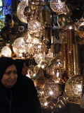 Shining lanterns in khan el khalili souq market with Arabic handwriting on it in egypt cairo Royalty Free Stock Image