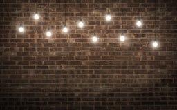 Shining light bulbs on dark brick wall. 3d rendering Stock Image