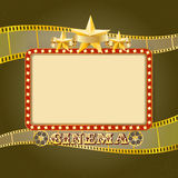 Shining light cinema banner. Retro cinema frame. With lights, stars, ribbon, reels, filmstrip. Vector template for Your design Stock Photo