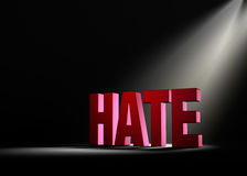Shining a Light On Hate. Angled spotlight backlighting and revealing red HATE on a dark background Royalty Free Stock Image
