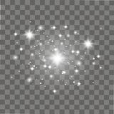 Shining light, stars on transparent background. Vector Stock Image
