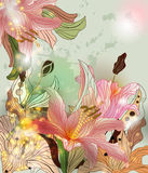 Shining lilies composition. Shining composition with lilies, abstract leaves and lights Royalty Free Stock Photos