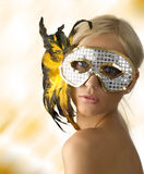 Shining mask and feather Stock Images