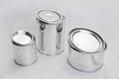 Shining metal cans for paint Stock Image