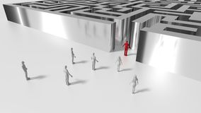 Shining metal maze with people in front of the entrance and male Stock Photography