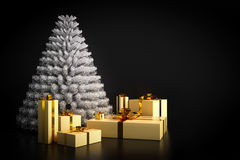 Shining modern Christmas tree and presents on black background. Royalty Free Stock Photo