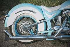 Shining motorcycle. Detail of an highly personalized and modified custom motorcycle Stock Photos