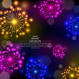The shining multi-colored. Fireworks. Abstract bright design against a dark background with elements a side. A vector illustration with the place for the text Royalty Free Stock Images