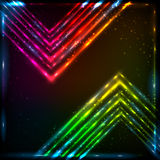 Shining neon arrows abstract vector background Stock Image