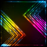 Shining neon arrows abstract vector background Stock Photography
