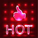 Shining neon hot like. Red neon hot like over shining red background Stock Photography