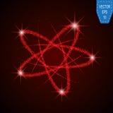 Shining neon lights atom model. Gold crossed circles light train effect. stock illustration