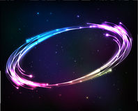 Shining neon lights cosmic abstract frame Stock Photos