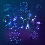 Shining neon lights new year vector card Royalty Free Stock Image