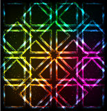 Shining neon lights rainbow squares background Stock Photo