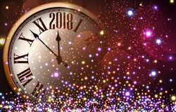 2018 New Year background with clock. Shining 2018 New Year background with clock. Vector illustration Royalty Free Stock Photo